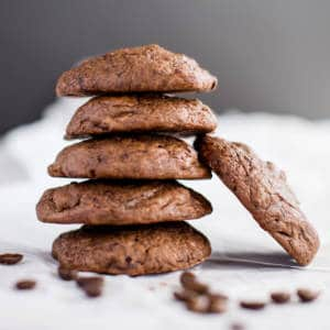 stack of dark chocolate espresso cookies
