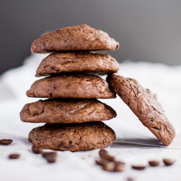 stack of dark chocolate espresso cookies