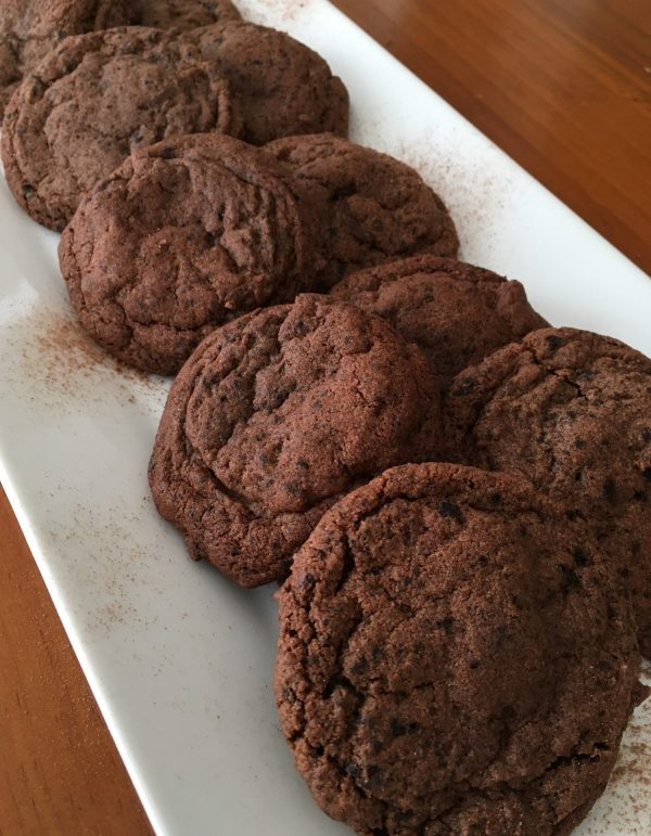 plate of dark chocolate espresso cookies