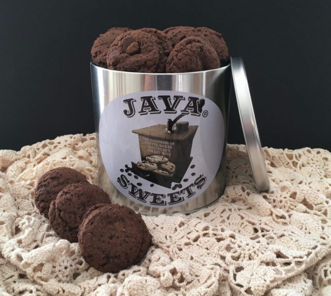 Tin of dark chocolate espresso cookies