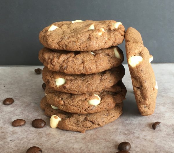 stack of mocha cookies with coffee beans