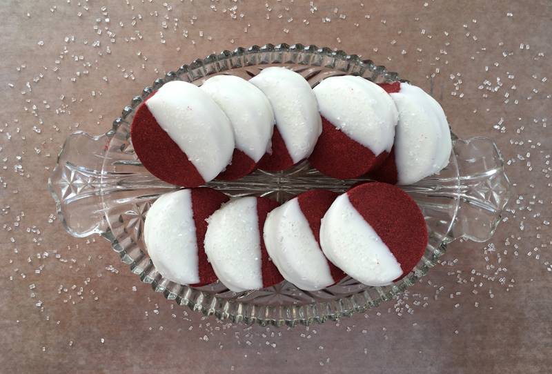 Red Velvet Cappuccino Shortbread Cookies on plate