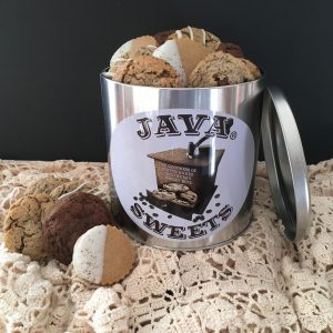 gourmet cookies including java chocolate chip cookies in gift tin