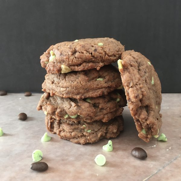 stack of mint mocha cookies