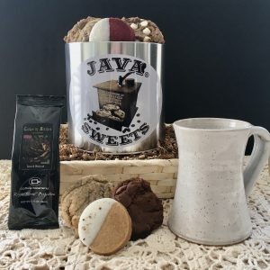 coffee gift baskets with cookies and mug for corporate gifts