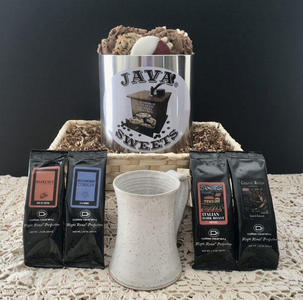 gift basket with coffee, cookies and coffee mug